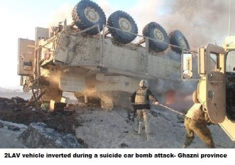2LAV vehicle inverted during a suicide car bomb attack- Ghazni province