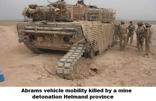 Abrams vehicle mobility killed by a mine detonation Helmand province