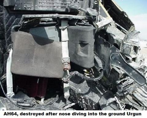 AH64, destroyed after nose diving into the ground Urgun