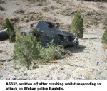 AS332, written off after crashing whilst responding to attack on Afghan police Baghdis.