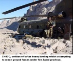 CH47C, written off after heavy landing whilst attempting to reach ground forces under fire Zabul province.