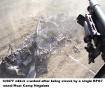 CH47F which crashed after being struck by a single RPG7 round Near Camp Nagalam