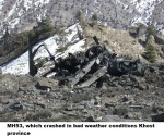 MH53, which crashed in bad weather conditions Khost province