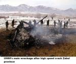 UH60's main wreckage after high speed crash Zabul province