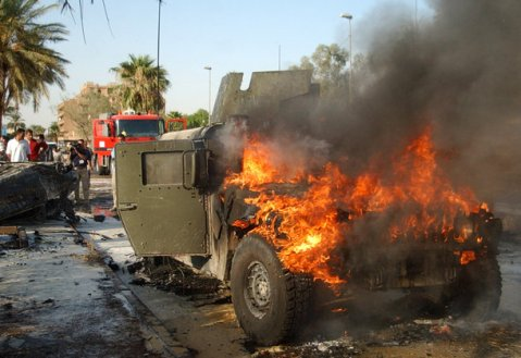 American Logistical vehicle burning in Afghanistan